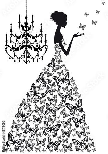 kobieta-z-motylami-wektor