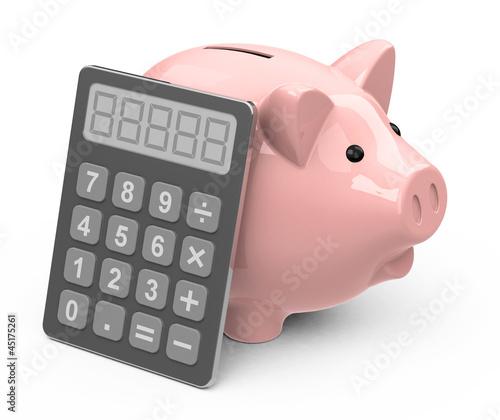 Taschenrechner und Sparschwein