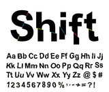 Abstract shift font. Vector illustration.