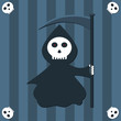 Funny reaper cartoon over blue stripes background