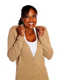 Adult woman with a winning attitude poster