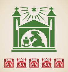 Christmas icon, vintage design element