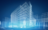 Fototapety wireframe buildings