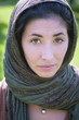 beautiful girl with scarf saffi on the lawn