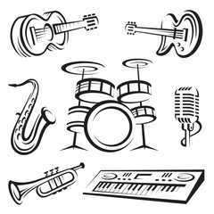 monochrome set of musical instruments