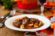 Boeuf Bourguignon  with carrots,onions and mushrooms