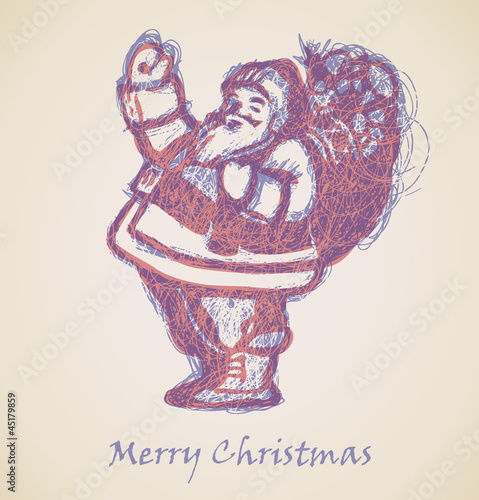 Santa Claus Sketch, Christmas design element