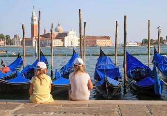 Children in Venice in front of S. Giorgio Island - Italy