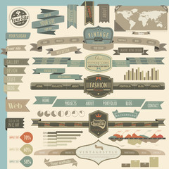 Retro vintage style website headers and navigation elements