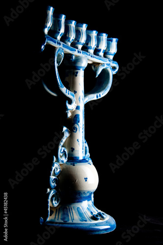 Ceramic Menorah. Caltagirone (SIcily) Style. Black Background