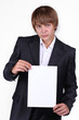 Portrait of Business young man holding a banner - isolated over