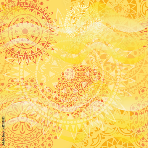 Beautiful texture with mandalas in warm colors