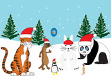 Animals in Xmas Hats  building a snowman rabbit