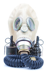 gas mask with grenade on white background