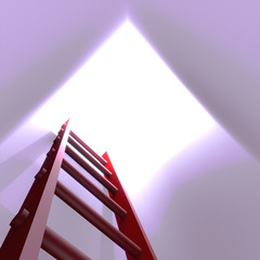 Red ladder leading out of a hole