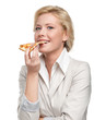 Business woman eating pizza, isolated on white