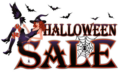 Halloween sale banner isolated. vector illustration