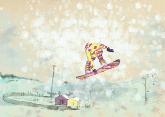 snowboarder - hand drawing, grunge technique