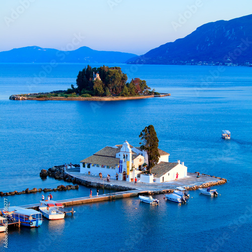 Sunset scene of Vlacherna monastery, Kanoni, Corfu, Greece