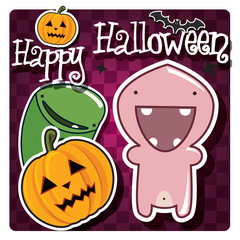 Happy Halloween card with monster, pumpkin and a bat, vector