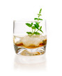 Alcoholic Drink with mint and ice cubes