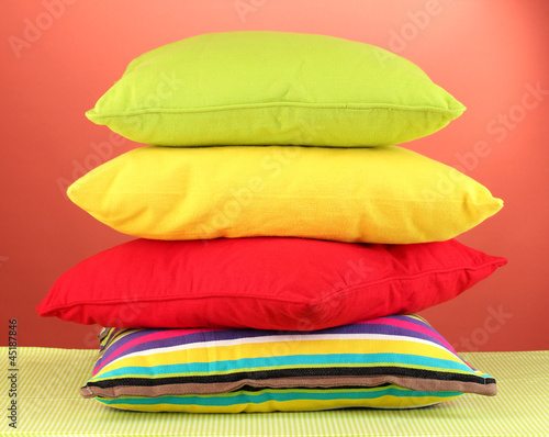 pillows on red background