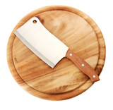 meat cleaver on cutting board isolated on white