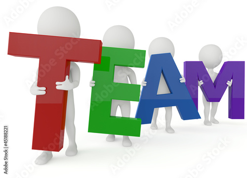 3d humanoid character hold a team word