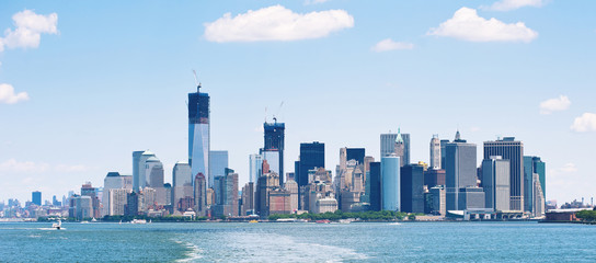 Panoramic image of lower Manhattan skyline.