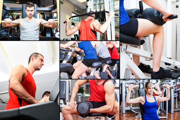 People training in a fitness club