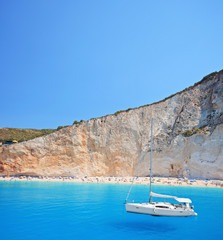 Yacht anchored  at Porto Katsiki beach on the island of Lefkada