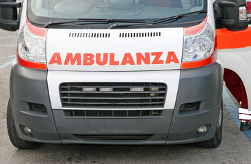 hood of the ambulance written in Italian straight