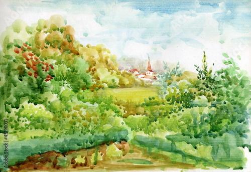 Kolekcja Pejzaż akwarela: życia na wsi
