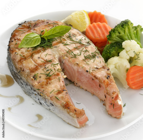 Slice Of Salmon And Vegetables