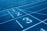Close up of running track start lines