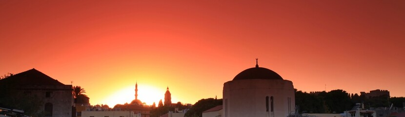 Old Rhodes town sunset