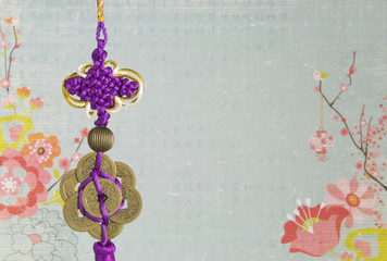 Chinese Hanging Decoration on Flower Background