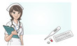 Young cute cartoon nurse with medicine,digital thermometer