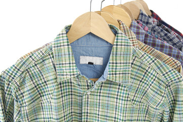 Men's different colors short sleeved plaid cotton