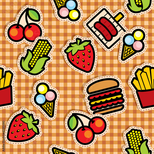 seamless background with food icons