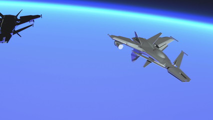 High tech Jet Fighter over Mountains slow motion 3D render