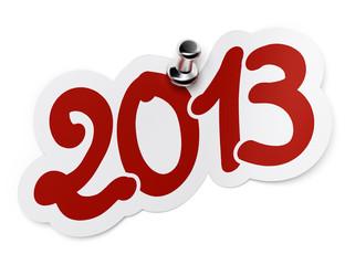 2013 sticker. Deux mille treize fond blanc