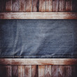 wooden on blue jeans background