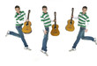 casual young man jumping with guitar,collage