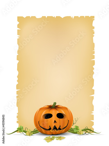 Pumpkin with leavs and paper