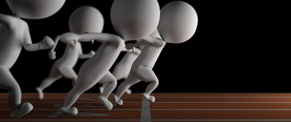 3d small man wins a run race on black background