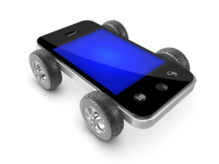 3d Smartphone with wheels and tyres