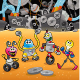 Fototapety Robots with background. Cartoon and vector illustration.
