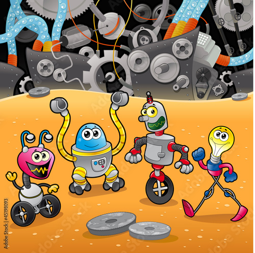 Aluminium Robots Robots with background. Cartoon and vector illustration.
