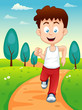 illustration of a boy jogging in the park
